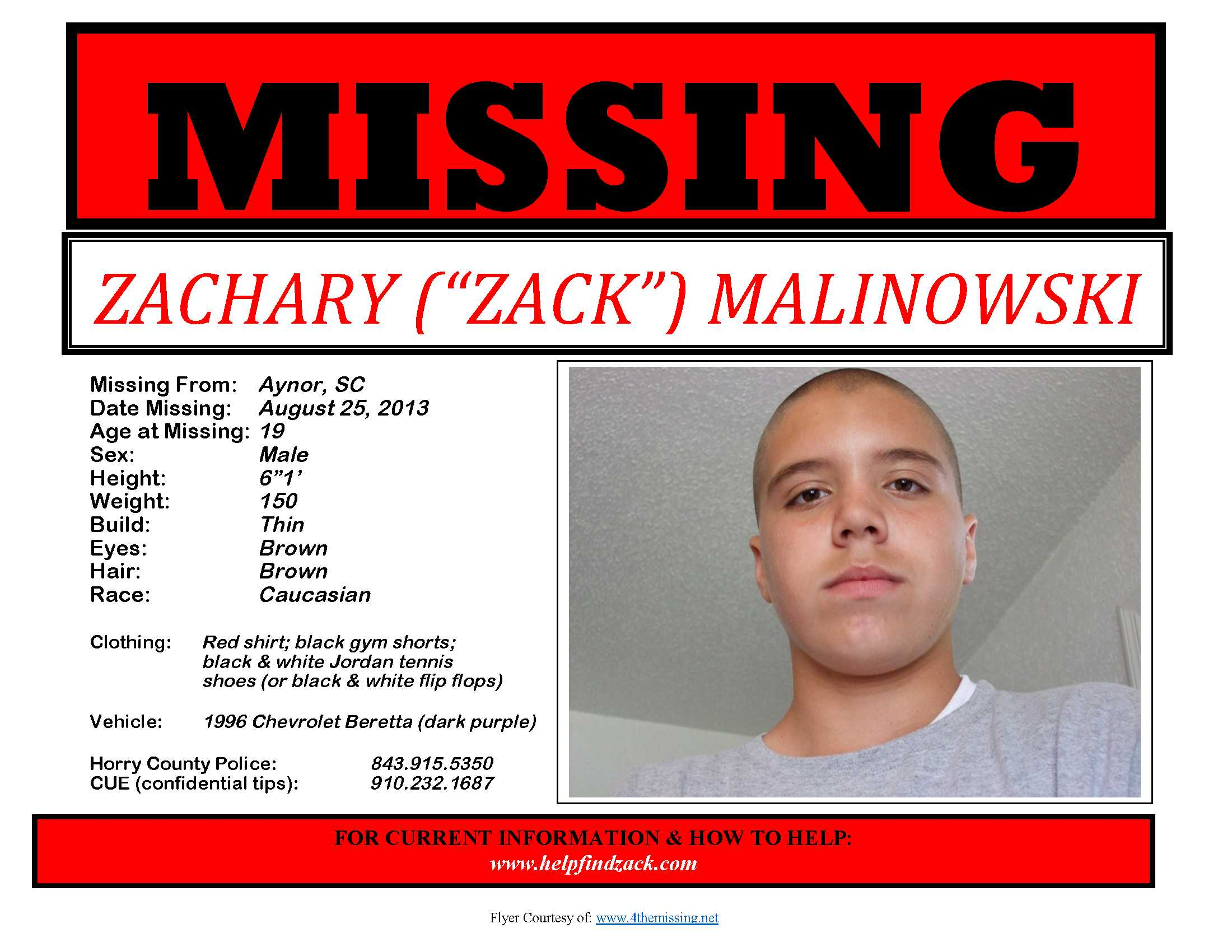 Help Find Zack  Missing Person Flyer